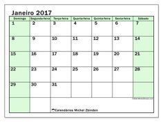 Livre! Calendários para janeiro 2017 para imprimir  - Brasil