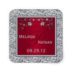 Red, Silver PRINTED Foil Floral Monogram Sticker