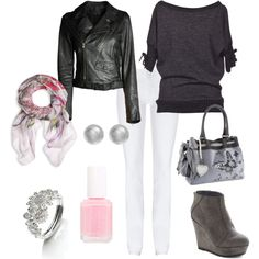 Monochrome heaven with splashes of spring pink., created by emma-phelps-1 on Polyvore