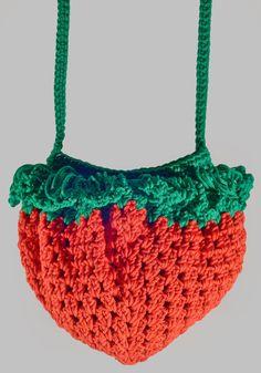 Big Strawberry Bag Handmade Crochet Cross-body Bag Red by NikieArt