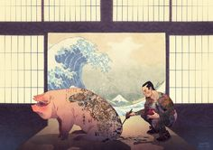'Japanese With Pig and Wave'. By Spanish artist Jaime Posadas. Critic or tribute? Anyhow, it's wonderful. via @culturainquieta
