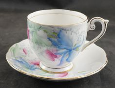 BELL Fine Bone China Cup and Saucer Pastel FLOWERS by RarebirdAntiques on Etsy