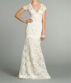 Weiß / Ivory VAusschnitt lange Lace Brautkleid mit von DressbLee, $255.00