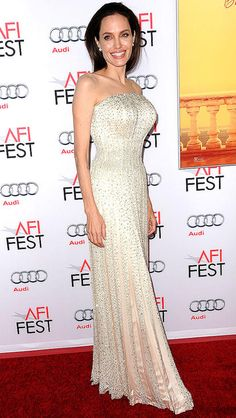 Angelina Jolie in a strapless beaded Atelier Versace dress