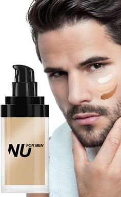 Liquid Foundation for Men by NU Makeup, provides maximum coverage for blemishes and imperfections.   www.differio.com