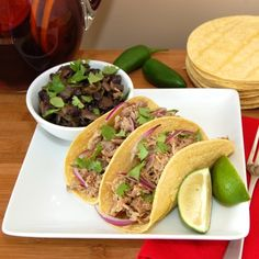 Last month my husband and I were down in Key West on vacation and had lunch at Bagatelle on Duval Street. There I had the most amazing Cuban Street Tacos I have ever tasted and I knew that I had to… Pork Recipes, Slow Cooker Recipes, Mexican Food Recipes, Cooking Recipes, Kitchen Recipes, Yummy Recipes, Tortilla Recipes, Cooking Tips, Ethnic Recipes