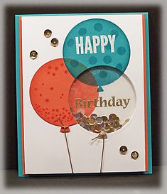 Free For All rules said to use odd number components: 5 stamps, 3 balloons, 3 colors of EP, 3 inks, 3 card stock colors, 5 sequins scattered on card front, and 1 shaker window.