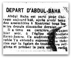 Depart d'Abdul-Bahá