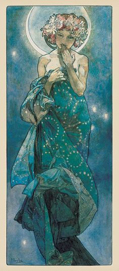 A beautiful poster of Luna, the goddess of the Moon, by Art Nouveau illustrator Alphonse Mucha! Check out the rest of our excellent selection of Alphonse Mucha posters! Art And Illustration, Art Amour, Illustrator, Alphonse Mucha Art, Mucha Artist, Art Nouveau Mucha, Art Nouveau Tattoo, Art Nouveau Poster, Jugendstil Design