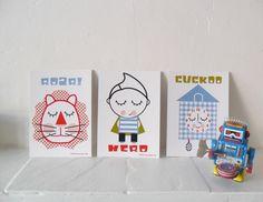 Postcard Set for Boys - Retro - Superhero - Lion - Cuckoo Clock. via Etsy.