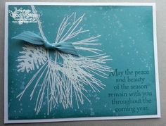 Ornamental Pine, Stampin' Up! Whisper White Craft Ink, Lost Lagoon card stock, White Embossing Powder.