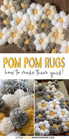 A tips and tricks tutorial for making a pom pom rug really fast! We talk about t. A tips and tricks tutorial for making a pom pom rug really fast! We talk about the best pom pom rug backing, Arts And Crafts House, Diy Arts And Crafts, Diy Crafts To Sell, Easy Crafts, Diy Pom Pom Rug, Pom Pom Crafts, Arts And Crafts Movement, Art And Craft Videos, Tapis Design