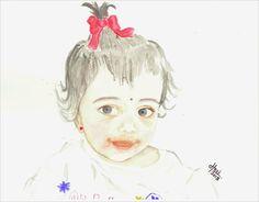 Baby Girl Portrait by Harinarayan Sreenivasan [Watercolor on Paper]