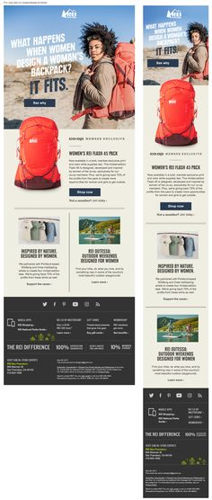 Beautiful responsive email from REI Email Sites, Email Web, Web Ui Design, Responsive Web Design, Graphic Design, Email Layout, Web Layout, Miguel Music, Email Design Inspiration