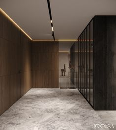 Smoky Grey Interior With Warm Ambient Lighting - Decorasium Stone Feature Wall, Modern Home Office Desk, Corridor Design, Hidden Rooms, Ensuite Bathrooms, Gray Interior, Luxurious Bedrooms, House Design, Architecture