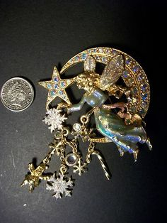 Kirks Folly Christmas Moon Fairy Brooch *Stunning*