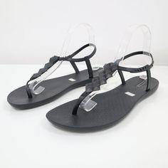 2cea0b797568 Ipanema Flip Flop Sandals Flats Womens 10 Black T-Strap Thong Grendene   Ipanema