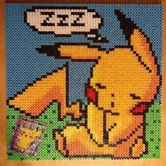 Sleeping Pikachu perler beads by sweetbeads: