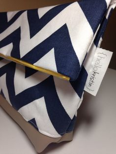 Navy and White Chevron Canvas and Leather Foldover Clutch by shophellokristin on Etsy