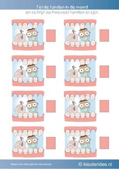 Denkeiland--> Hoeveel tanden zijn er in elke mond, kleuteridee.nl , thema tandarts voor kleuter, Count the teeth in the mouth, free printable. Montessori Activities, Preschool Worksheets, Dental Hygiene, Dental Health, Kids Art Space, Playroom Design, Math Numbers, Learning Colors, Book Girl