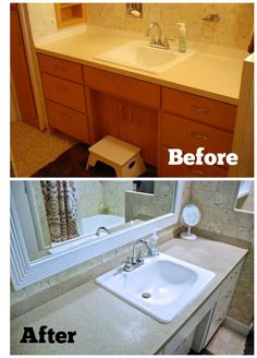 Spray paint countertops with a sealer Spray Paint Countertops, Painting Countertops, Vanity Countertop, Laminate Countertops, Cheap Bathroom Vanities, Cheap Bathrooms, Stone Spray Paint, Plastic Bathtub, Painting Bathroom Cabinets