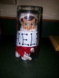 300+ Elf on the Shelf Ideas - Stuck in a glass #elfontheshelf #elfontheshelfideas