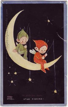 "Mabel Lucie Attwell illustration, ""Star Fishing """