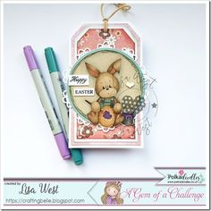Bunny Painting Egg from Pink Gem Designs @ Polkadoodles Bunny Painting, Pink Cards, Digi Stamps, Copic, Colouring, I Card, Lisa, Doodles, Gems