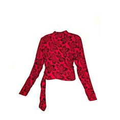 "Sonia Rykiel Paris Cropped Red ""Wrap"" Crepe Blouse"