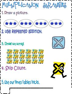 Anchor chart - Strategies for multiplication!
