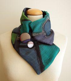 Calienta cuello de seda y lana pintada a mano-Cuello de por gilbea