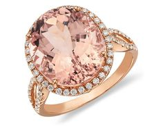 Morganite and Diamond Ring in 14k Rose Gold | Blue Nile   You'd look so lovely on my finger.