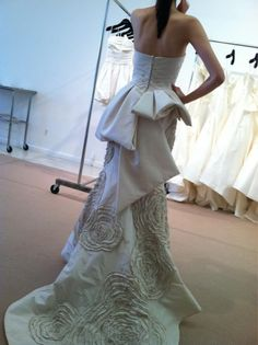 Amsale peplums at NYC Bridal Market