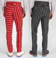 Thom Browne Men's Stripe Back Strap Pants