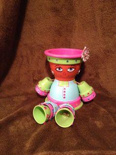 CUSTOM Pot lady by MurphyJune on Etsy Clay Pot Projects, Clay Pot Crafts, Flower Pot Crafts, Flower Pots, Flower Pot People, Clay Pot People, Painted Plant Pots, Clay Dolls, Garden Crafts