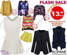 Não percam!! PROMOÇÃO Relâmpago #Romwe - 48 horas de ofertas com peças apartir de $13,99  Super slim price flash sale!  Only 48 hours! Fashionable best sellers!  $13.99 up! Don't miss, girls!