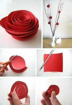 kreativ basteln rose blumen basteln valentinstag ideen