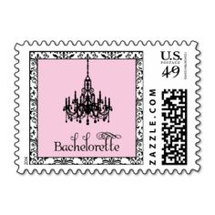 Bachelorette Party Pink Damask Chandelier Stamp. This is a fully customizable business card and available on several paper types for your needs. You can upload your own image or use the image as is. Just click this template to get started!