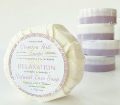 RELAXATION Natural Round Soap  Lavender & Vanilla scent, by crimsonhill