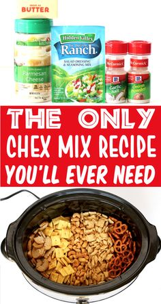 Chex Mix Recipes - Savory Salty Parmesan Ranch Mix!  Satisfy your next snack attack with this ridiculously delicious and seriously addictive Chex Mix.  You won't believe how EASY it is to make!  Go grab the recipe and give it a try! Snack Mix Recipes, Recipes Appetizers And Snacks, Easy Snacks, Yummy Snacks, Yummy Food, Desserts, Snack Mixes, Savory Snacks, Tasty