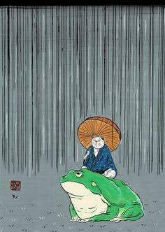 茸と蛙 #illustration #イラスト #動物 #絵 #和風 #猫 #雨 #蛙