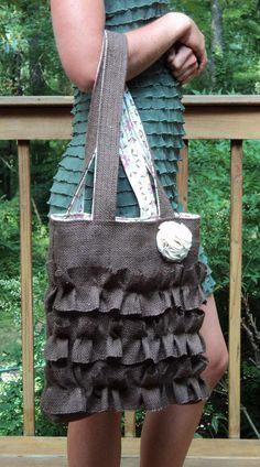 Burlap Purse Shabby Chic Bag by theruffleddaisy on Etsy