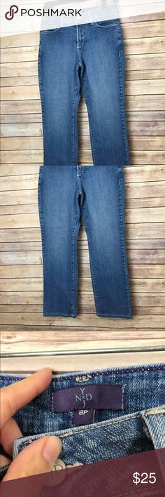 "NYDJ Lift Tuck Slimming Straight Leg Jeans NYDJ medium wash straight leg jeans  Great used condition, no flaws. MSRP $114 Size 8 petite.  Inseam 25.5"" Outseam 35"" Waist flat 14"" Leg Opening 14"" Rise 9""  All measurements are approximate. Smoke free home. NYDJ Jeans Straight Leg"