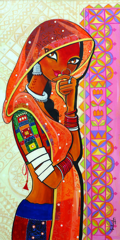 Coy - Painting by Niloufer Wadia