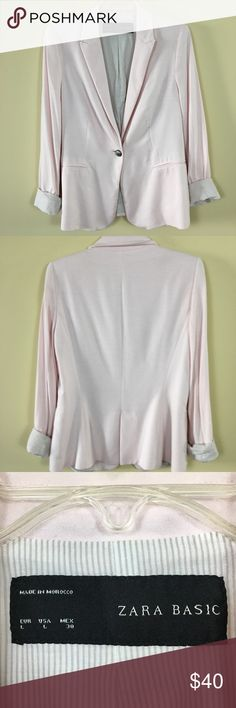 "Zara basic  blazer baby pink soft cotton pockets L Pit to pit 19.5"" Zara Jackets & Coats Blazers"
