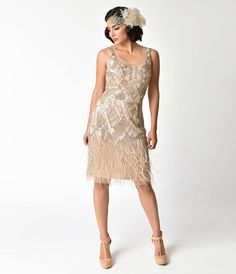1920s Wedding Dresses- Art Deco Style 1920s Style Champagne Beaded Deco Feather Fringe Marilyn Flapper Dress $198.00 AT vintagedancer.com