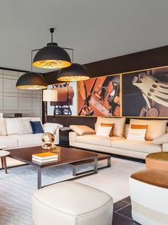 Warm colors in the living room by Trussardi Casa in Luxury Living Miami showroom