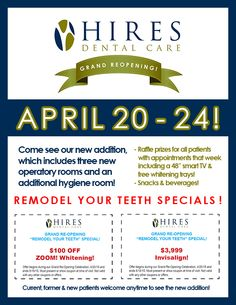 Come celebrate our grand re-opening with us, April 20 - 24!