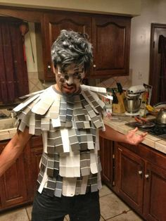 This is one of the funniest ideas I have ever seen for a costume...and cheap...just need to steal a few paint sample strips from hardware stores ;)