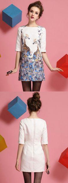 Floral And Giraffe Print Half Sleeve Dress-CHOIES